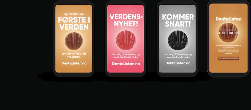 Dentelisten kampanjenettside vist på mobil